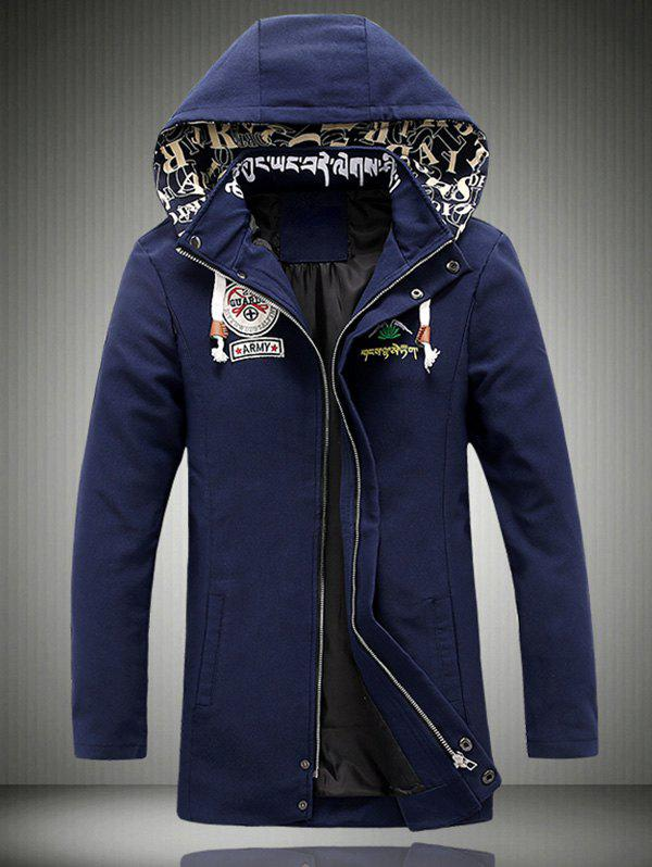 Embroidered Hooded Lengthen Thicken Jacket - DEEP BLUE L