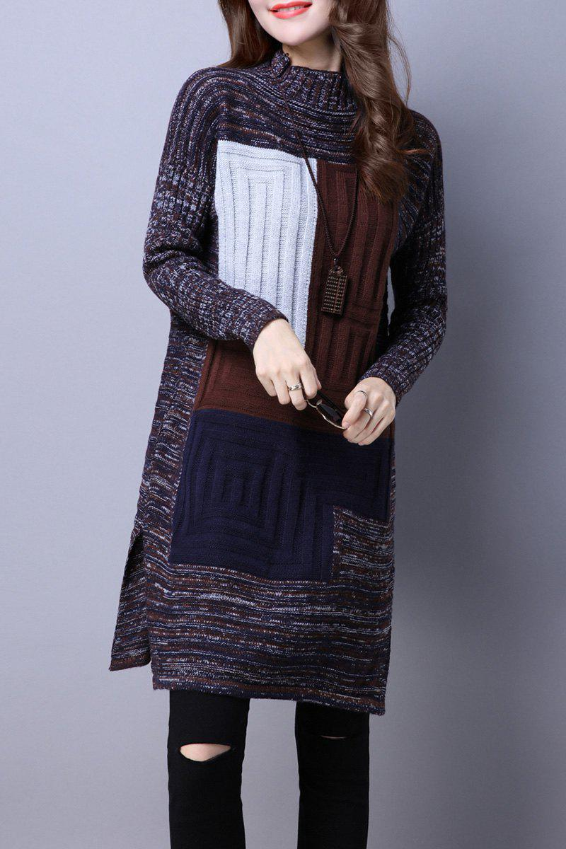 Mock Neck Color Block Sweater Dress - multicolorcolore M