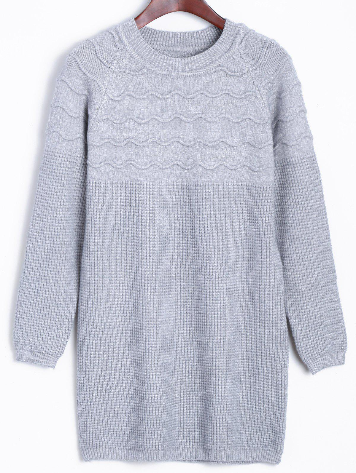Raglan Longline Sweater with Wavy Knit - GRAY ONE SIZE