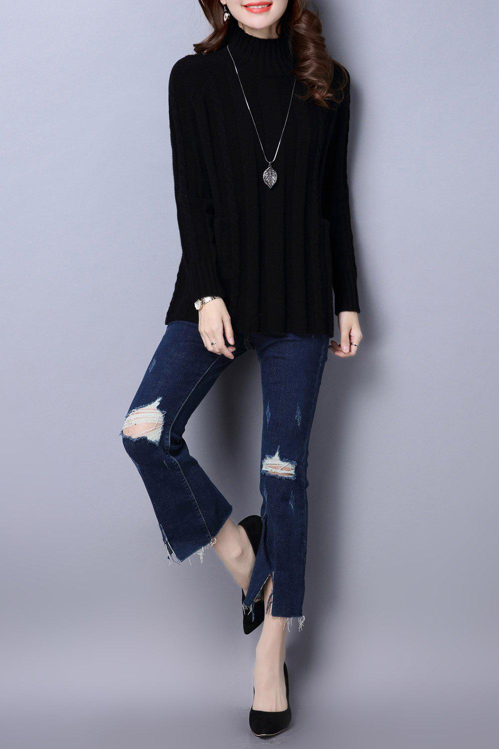Cable Knit Mock Neck Sweater - Noir ONE SIZE
