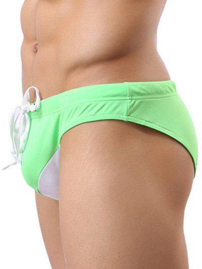Color Block Spliced Lace Up Swim Briefs - GREEN L