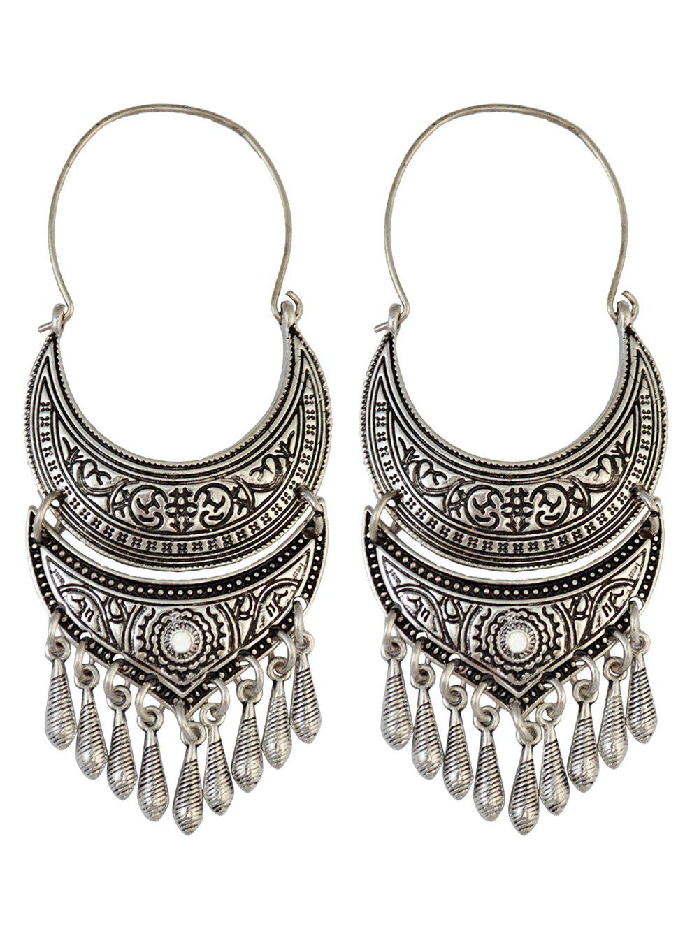 Vintage Crescent Tear Drop Earrings - SILVER
