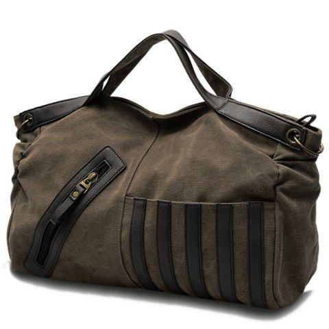 Casual Color Block and Canvas Design Tote Bag For Women - KHAKI