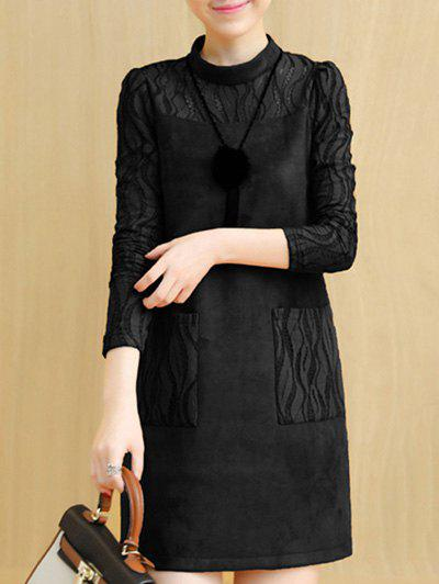 Faux Suede Lace Insert Long Sleeve Dress long sleeve lace insert mini dress