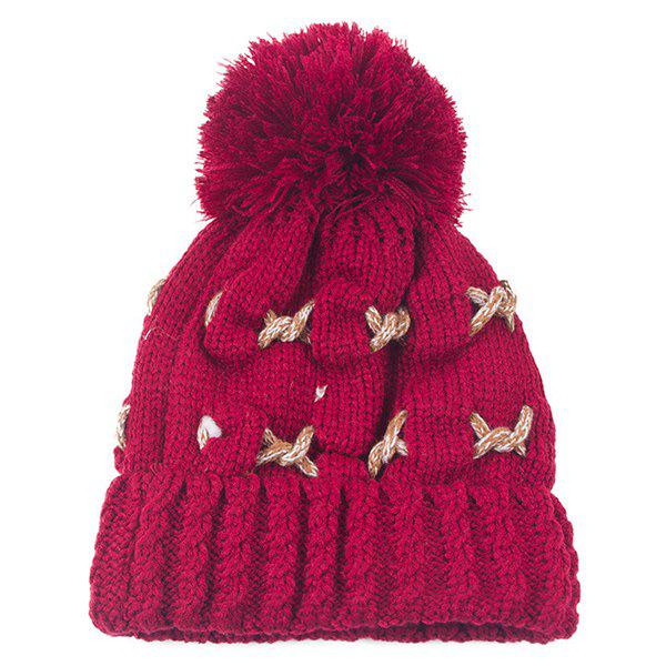Knit Cable Braided Pom Hat pom pom cable knit beanie hat