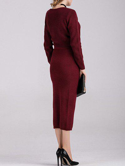 Long Sleeve Crop Top with Knitted Skirt - WINE RED ONE SIZE