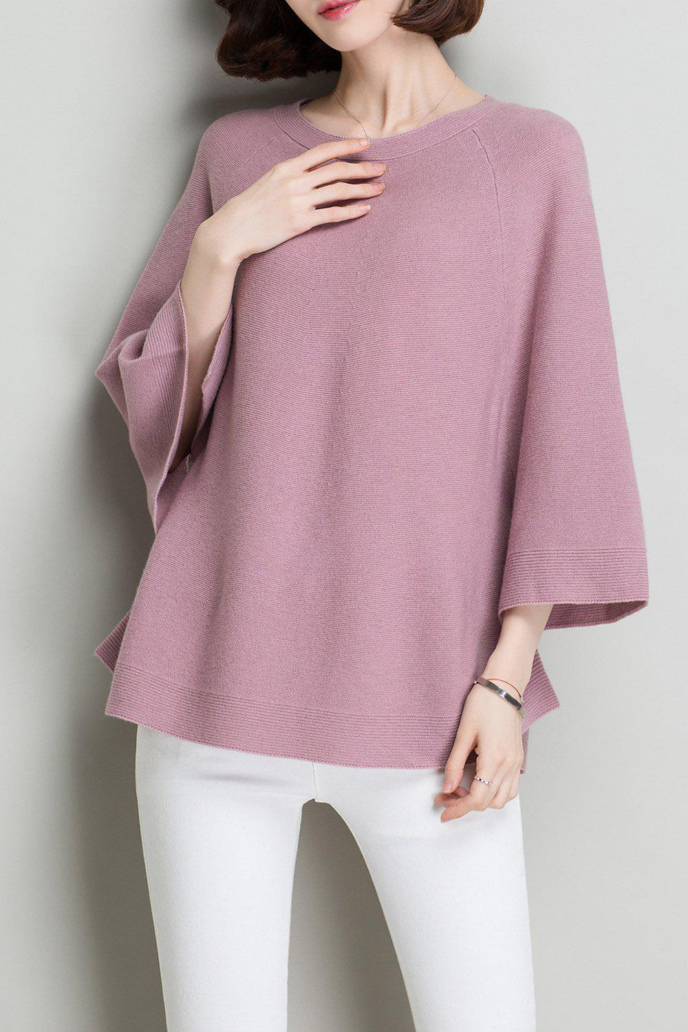 Flare Sleeve Wool Knit Sweater - PINK ONE SIZE