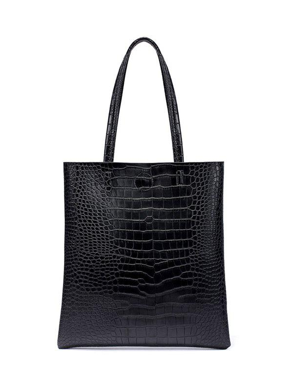 Crocodile Pattern PU Leather Shoulder Bag - BLACK
