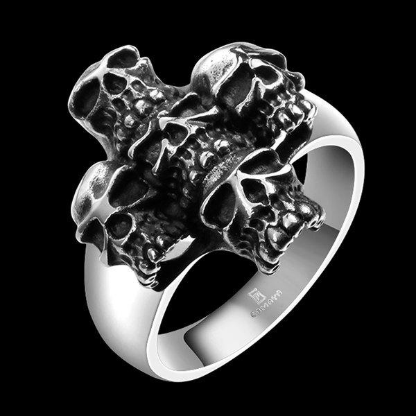 Alloy Engraved Five Skull Design Ring - SILVER 8