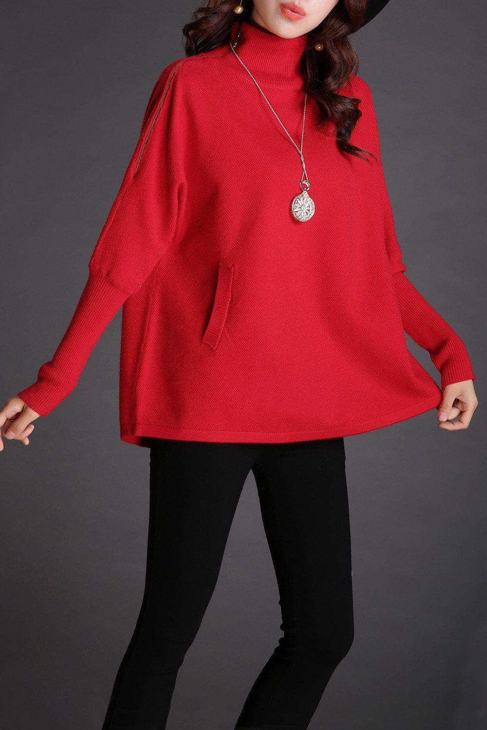 Batwing Mock Neck Pull en maille - Rouge ONE SIZE