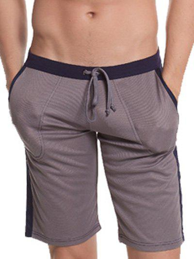Short Side Panel Pocket Drawstring Bermudes - Gris L