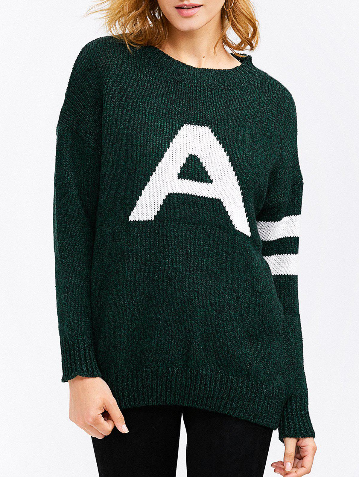 A Letter Pullover Sweater - DEEP GREEN ONE SIZE