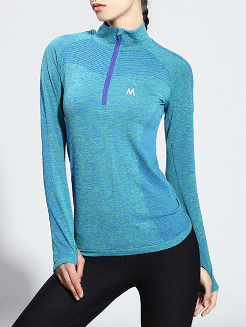 Long Sleeve Zipper Yoga T-Shirt - LIGHT BLUE L