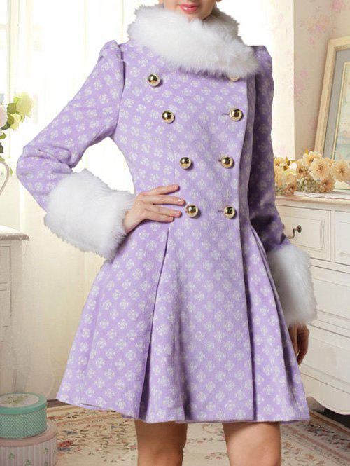 Double Breasted Skirted Coat With Fur Collar - LIGHT PURPLE S