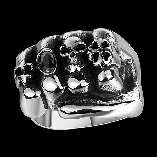 Four Leaf Clover Fist Faux Gem Shape Skull Ring - SILVER 8
