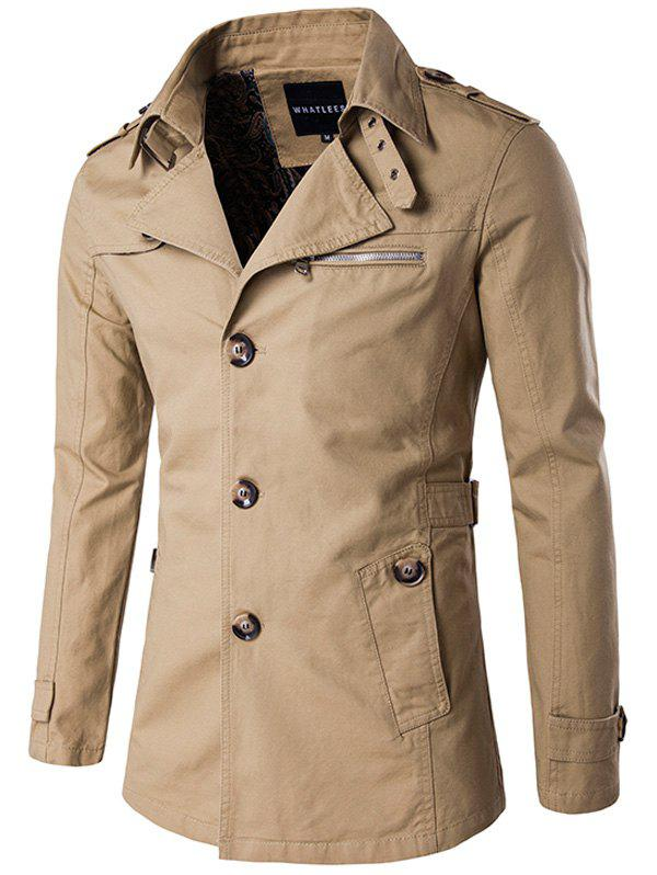 Manteau avec Simple Boutonnage - [/quot;Dark Khaki/quot;] 2XL