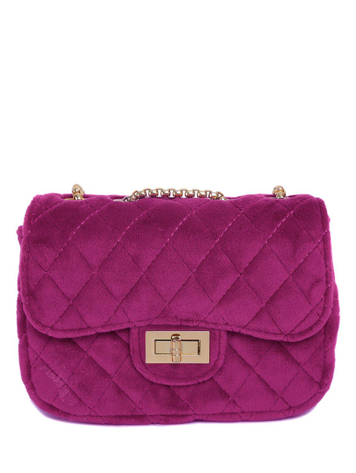 Velour Metallic Chains Quilted Bag - PEACH RED