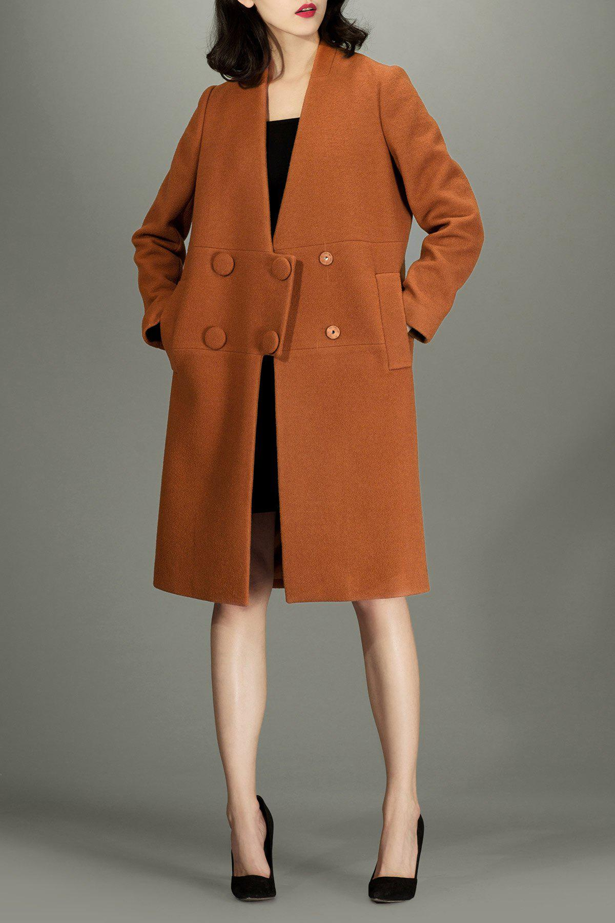 V Neck Walker Wool Coat - ANTIQUE BROWN L