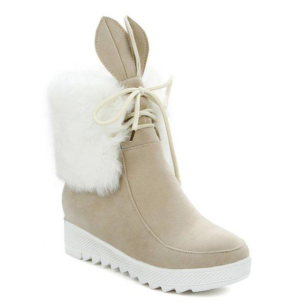 Lace Up fausse fourrure de lapin oreille Bottines - Blanc Cassé 39