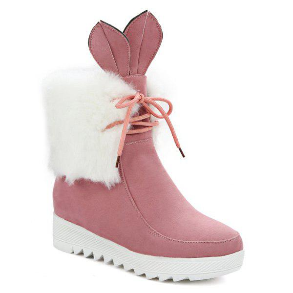 Lace Up fausse fourrure de lapin oreille Bottines - ROSE PÂLE 37