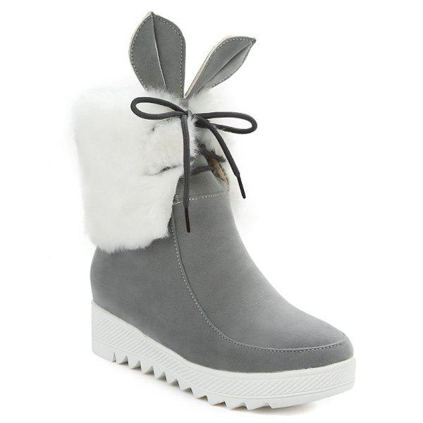 Lace Up fausse fourrure de lapin oreille Bottines - Gris 37
