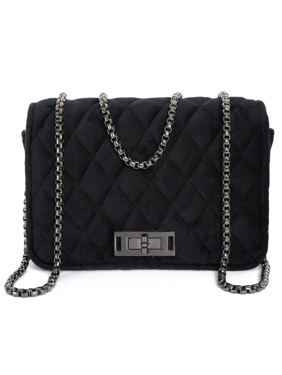 Metal Chains Velour Quilted Bag - BLACK