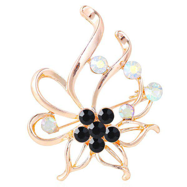 Floral Hollow Out Rhinestone Brooch hollow enamel christmas bell floral brooch
