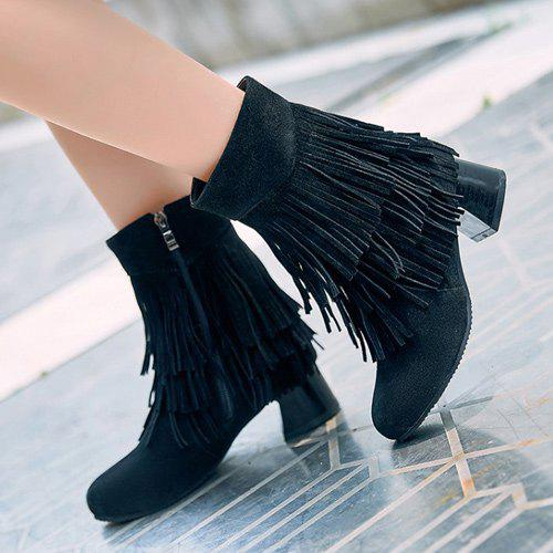 Frange Talon Chunky Bottines - Noir 38