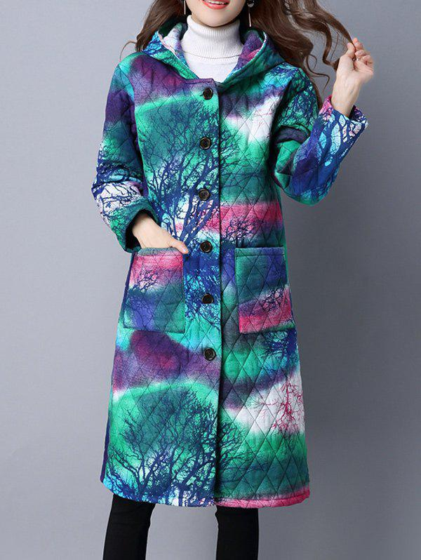 Hooded Single Breasted Padded CoatWomen<br><br><br>Size: 4XL<br>Color: GREEN