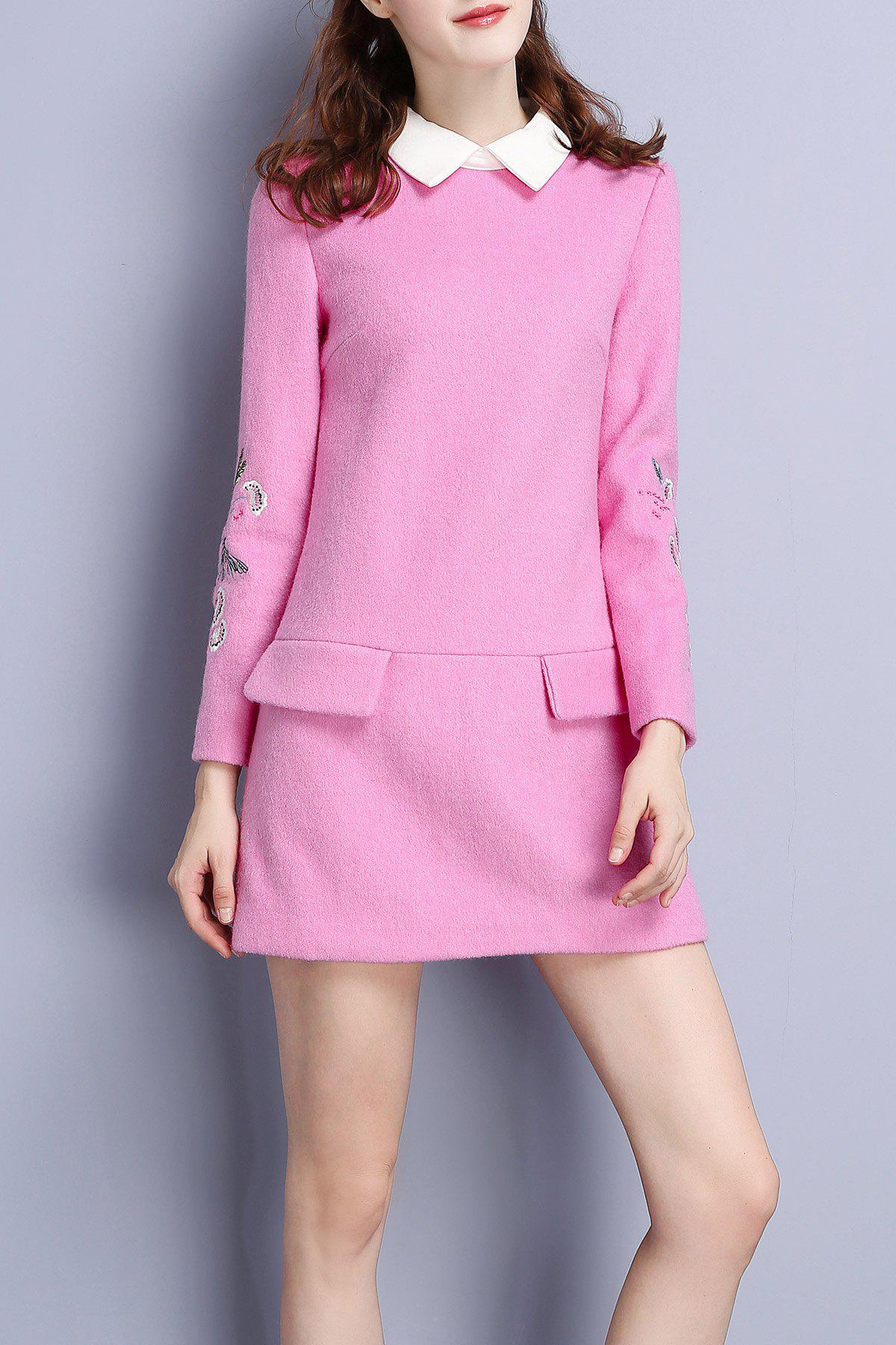 Mini Polo Collar Embroidered Dress - PINK S