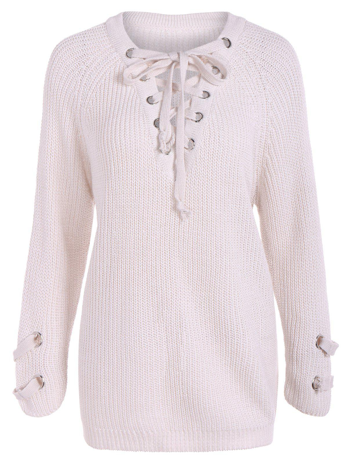 Lace-Up Loose Sweater, WHITE, ONE SIZE in Sweaters & Cardigans ...