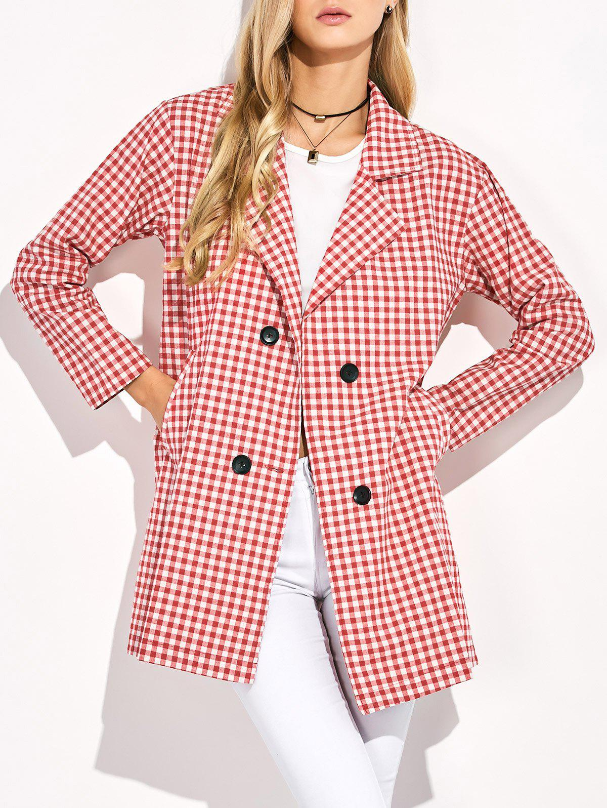 Double Breasted Lapel Plaid Coat - RED L