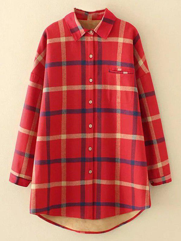 Plus Size Checkered Fleece Flannel Lined Shirt - RED XL