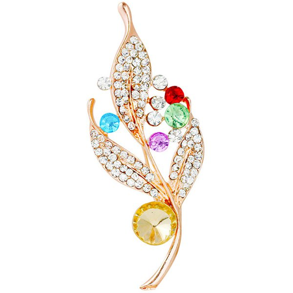 Leaf Alloy Rhinestone BroochJewelry<br><br><br>Color: GOLDEN