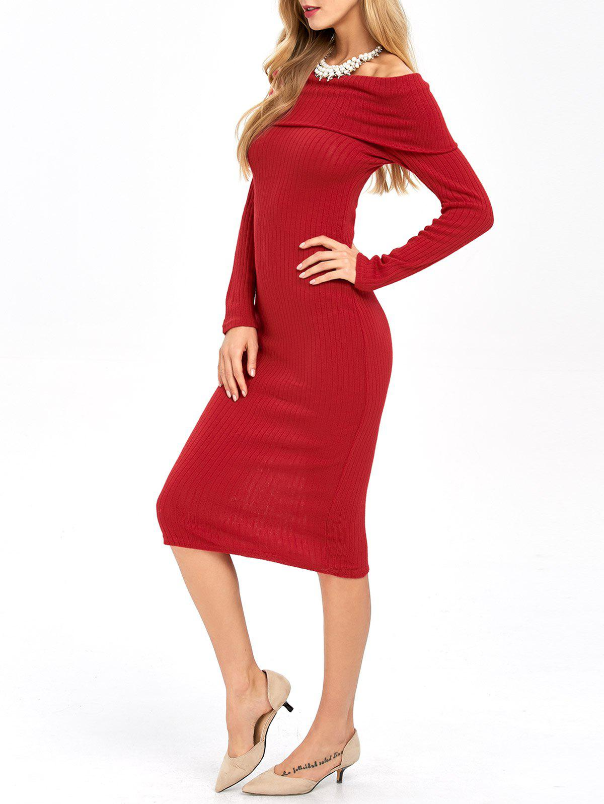 Long Sleeve Off Shoulder Midi Pencil Bodycon Dress - RED L
