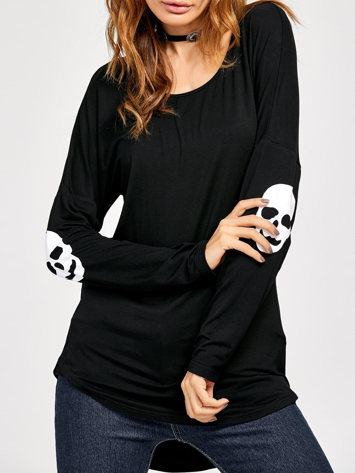 Skull Print High Low Tee - BLACK L