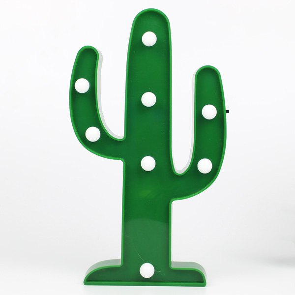 Room Decorative Cactus Shape LED Night Light - GREEN