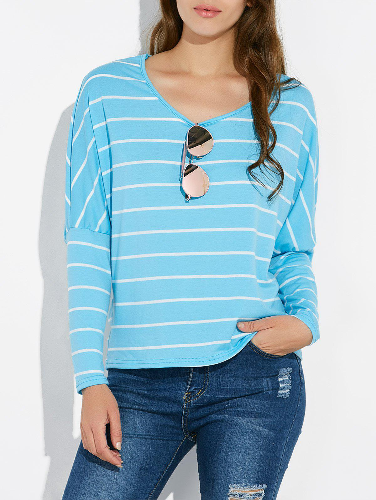 Batwing Sleeve Striped Tee - LAKE BLUE L