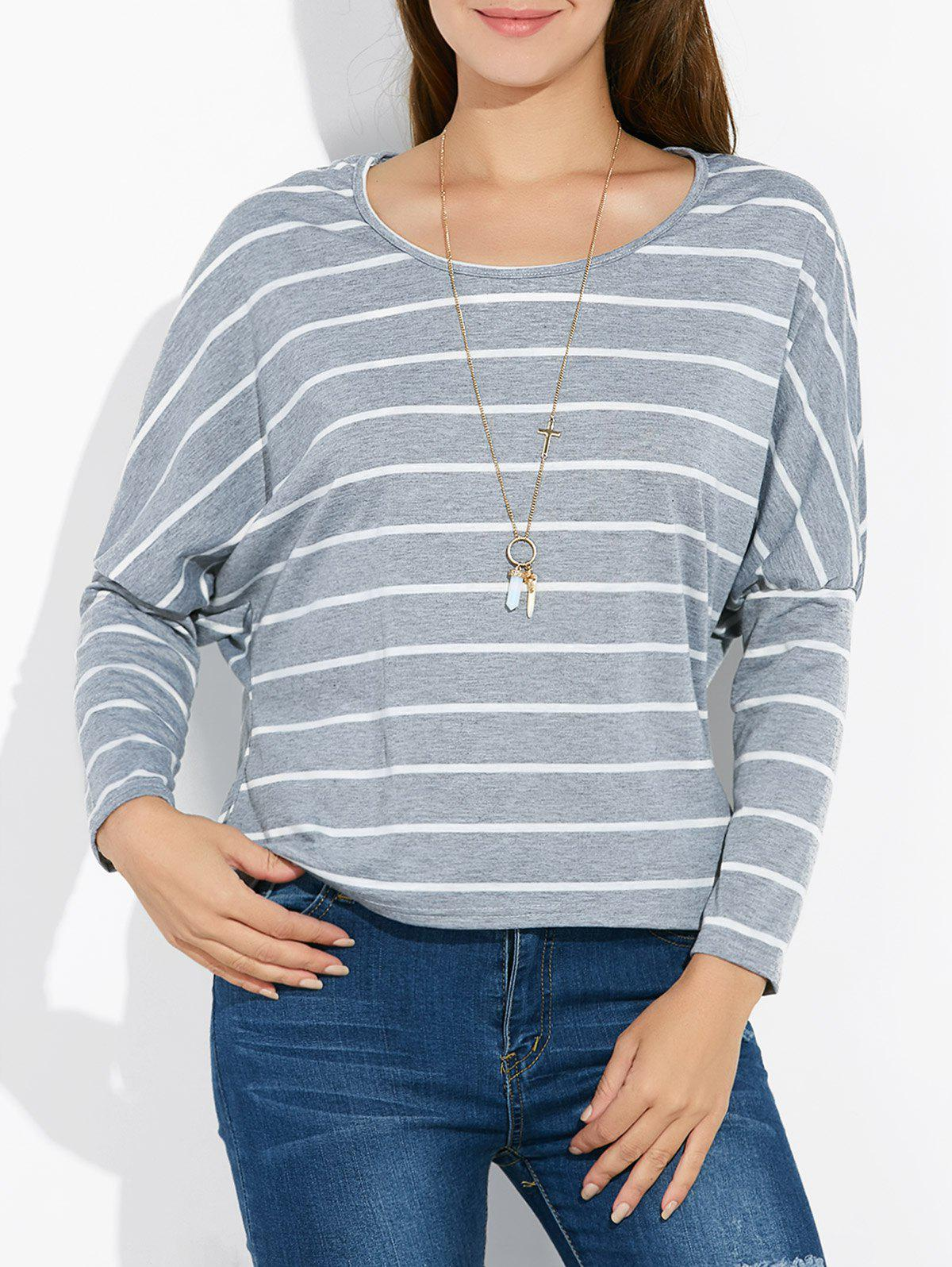 Batwing Sleeve Striped Tee - GRAY M