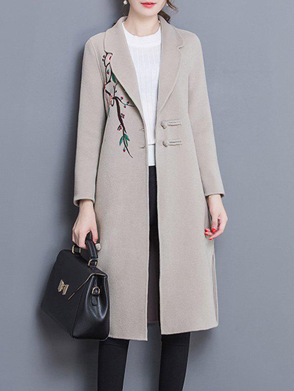 Wool Blend Longline Embroidered Coat - APRICOT L