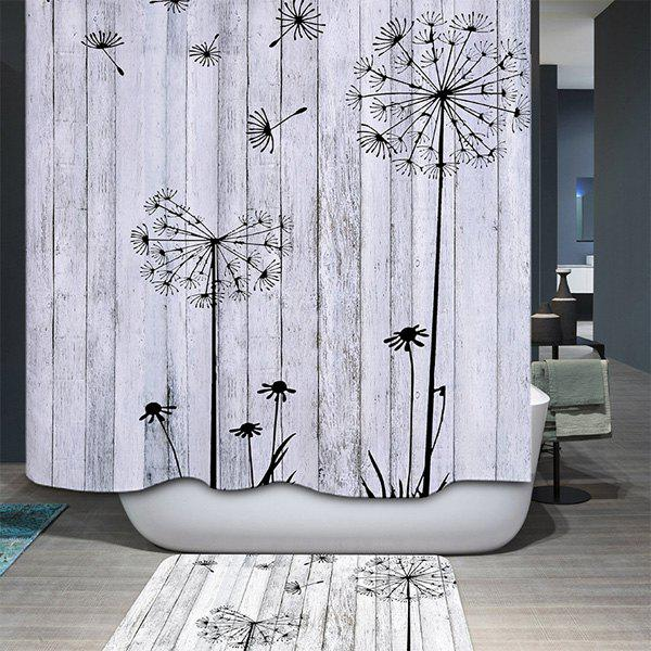 Concise Dandelion Waterproof Polyester Bathroom Shower Curtain - LIGHT GRAY