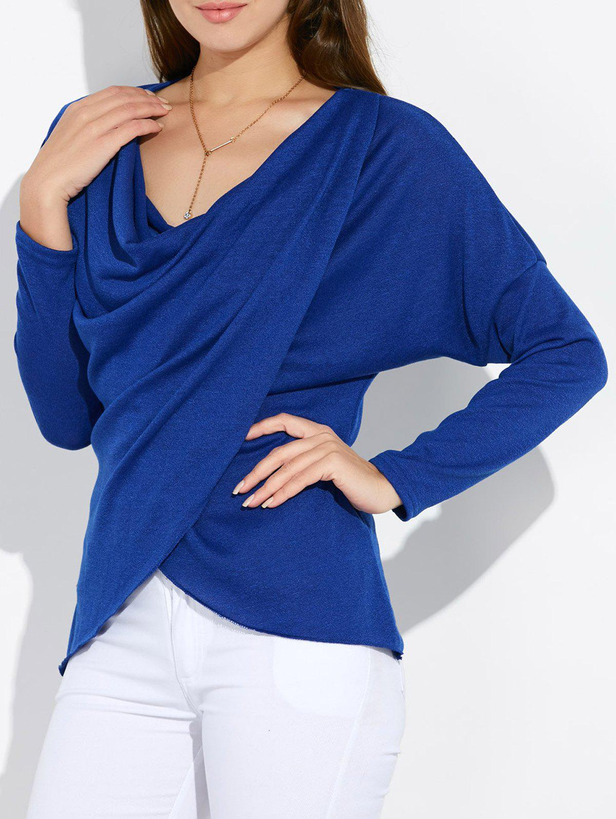Dolman Sleeve Ruched Tulip Tee - BLUE M