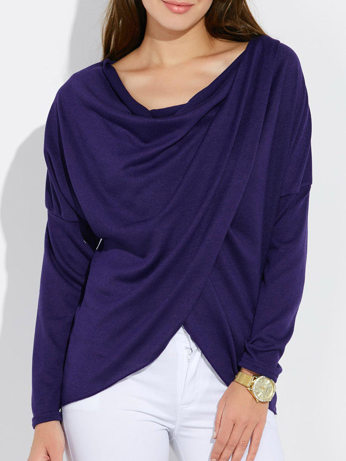 Dolman Sleeve Ruched Tulip TeeWomen<br><br><br>Size: S<br>Color: PURPLE