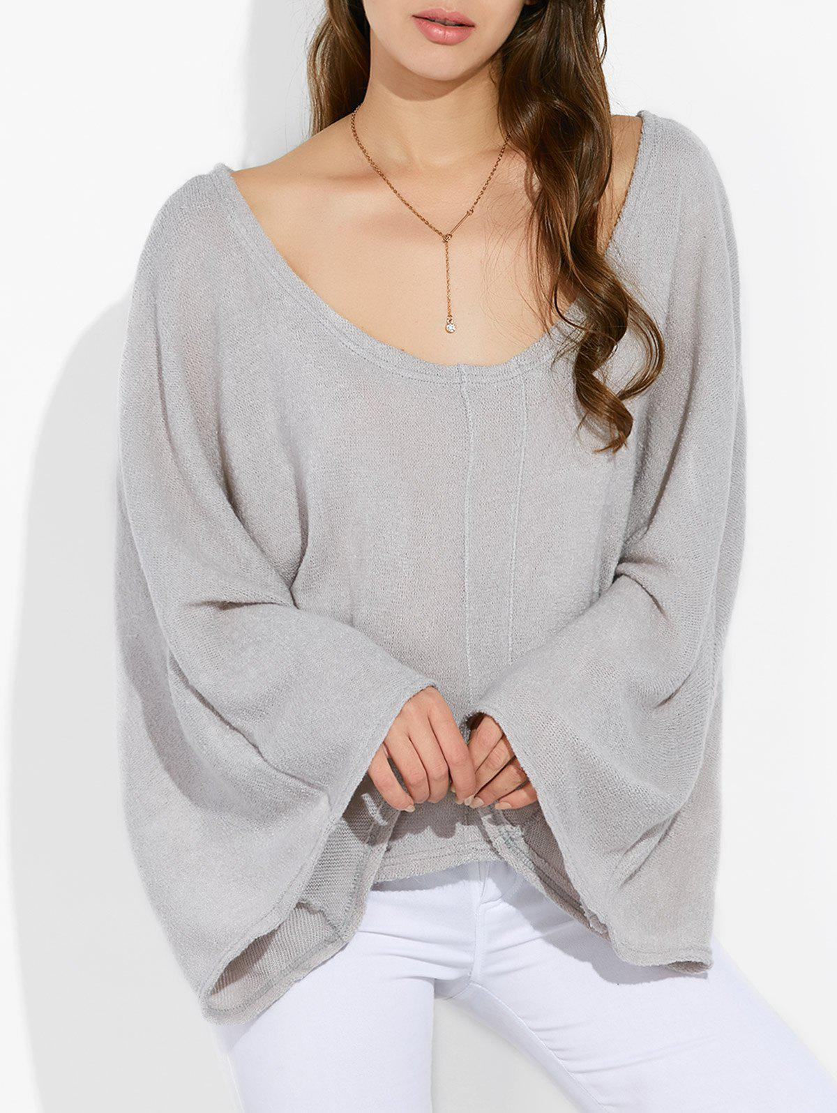Scoop Neck Loose KnitwearWomen<br><br><br>Size: M<br>Color: LIGHT GRAY