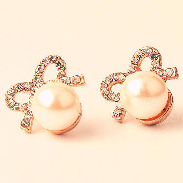 Rhinestone Artificial Pearl Bows EarringsJewelry<br><br><br>Color: GOLDEN