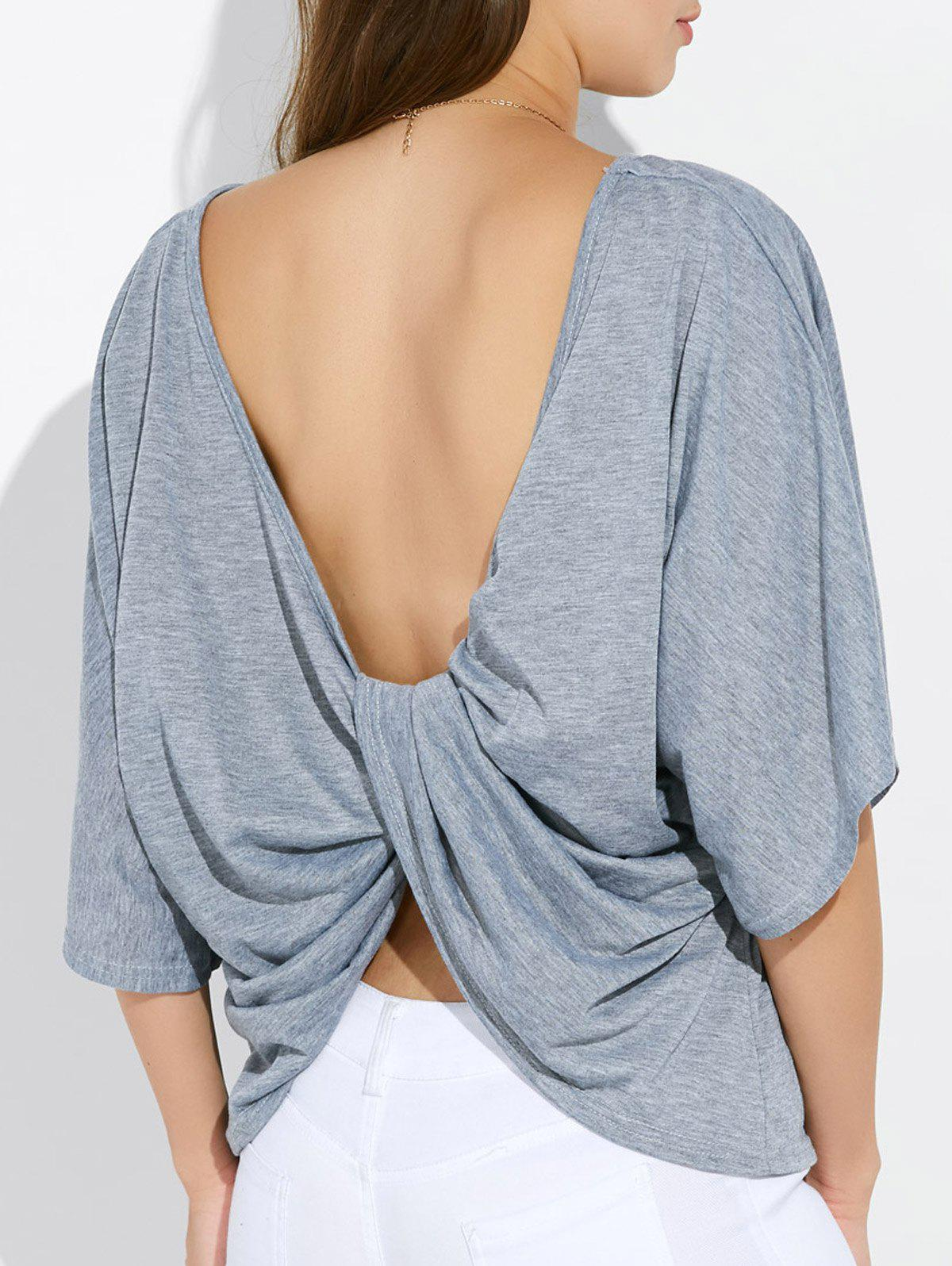 Twist Dolman manches Backless Tee - gris S