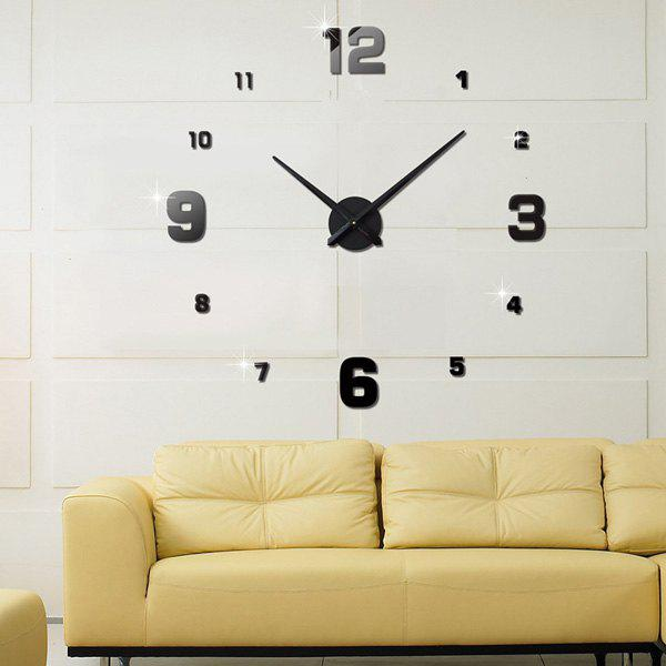 Buy DIY 3D Home Decoration Mirror Clocks Wall Stickers BLACK