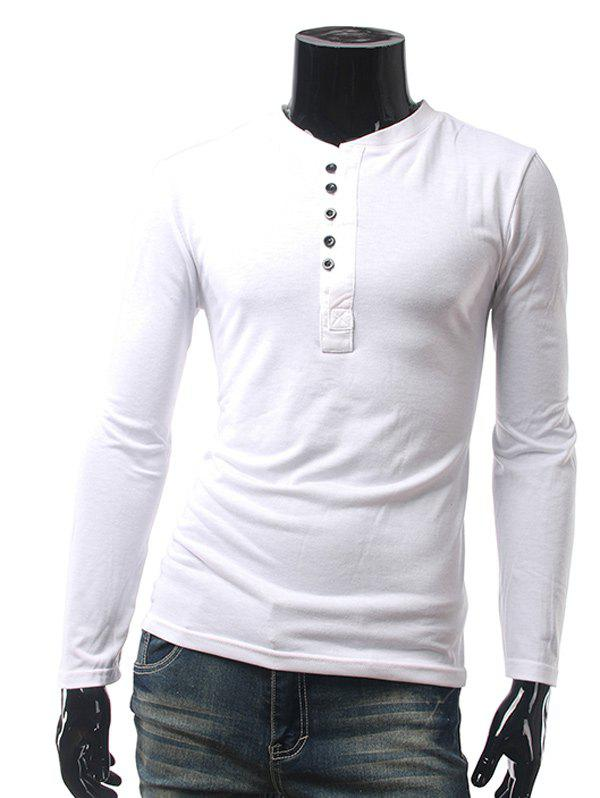 Plain Button Embellished Long Sleeve T-Shirt button embellished long sleeve striped t shirt