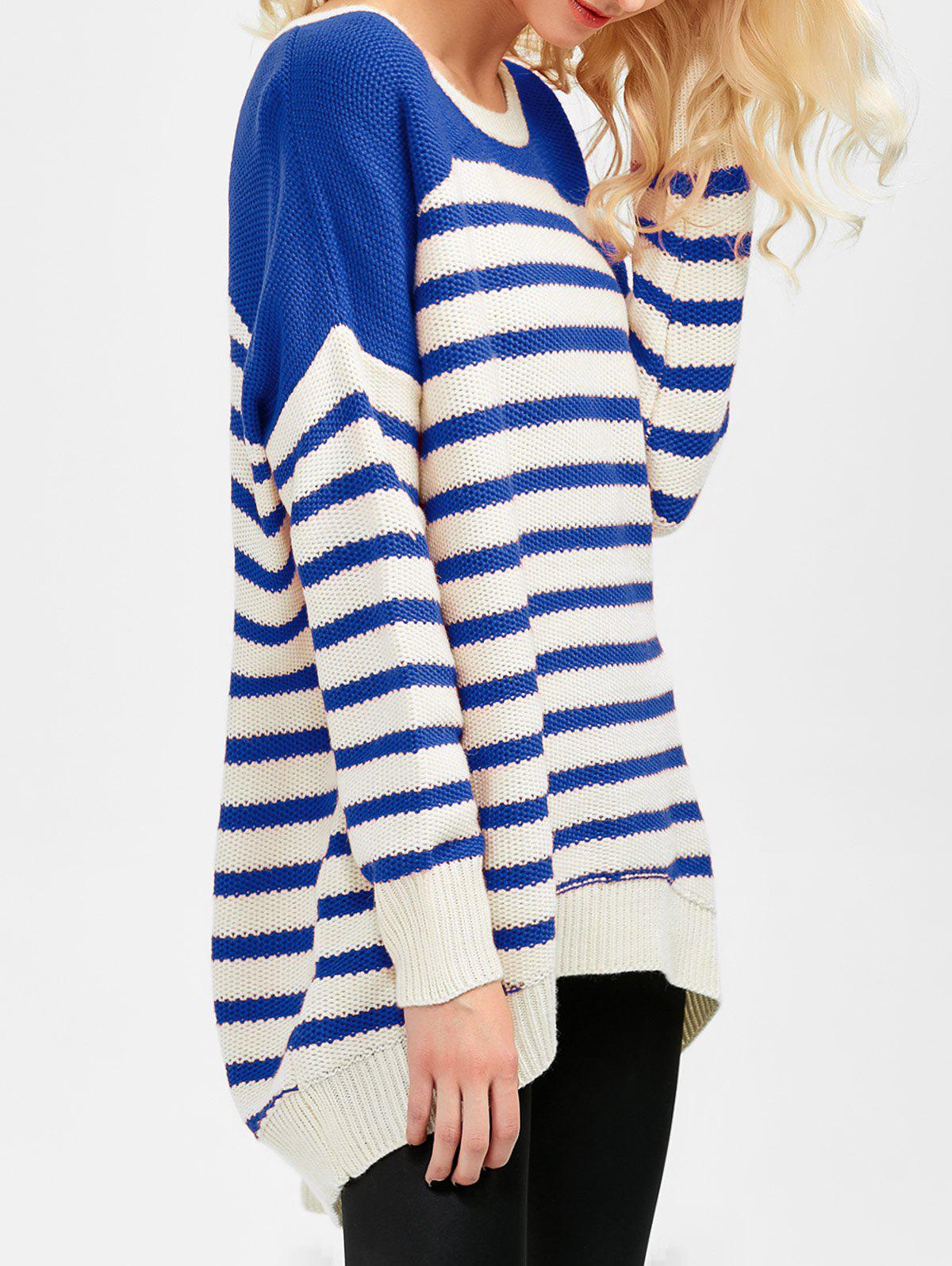 Striped High Low Oversized Sweater - BLUE 2XL