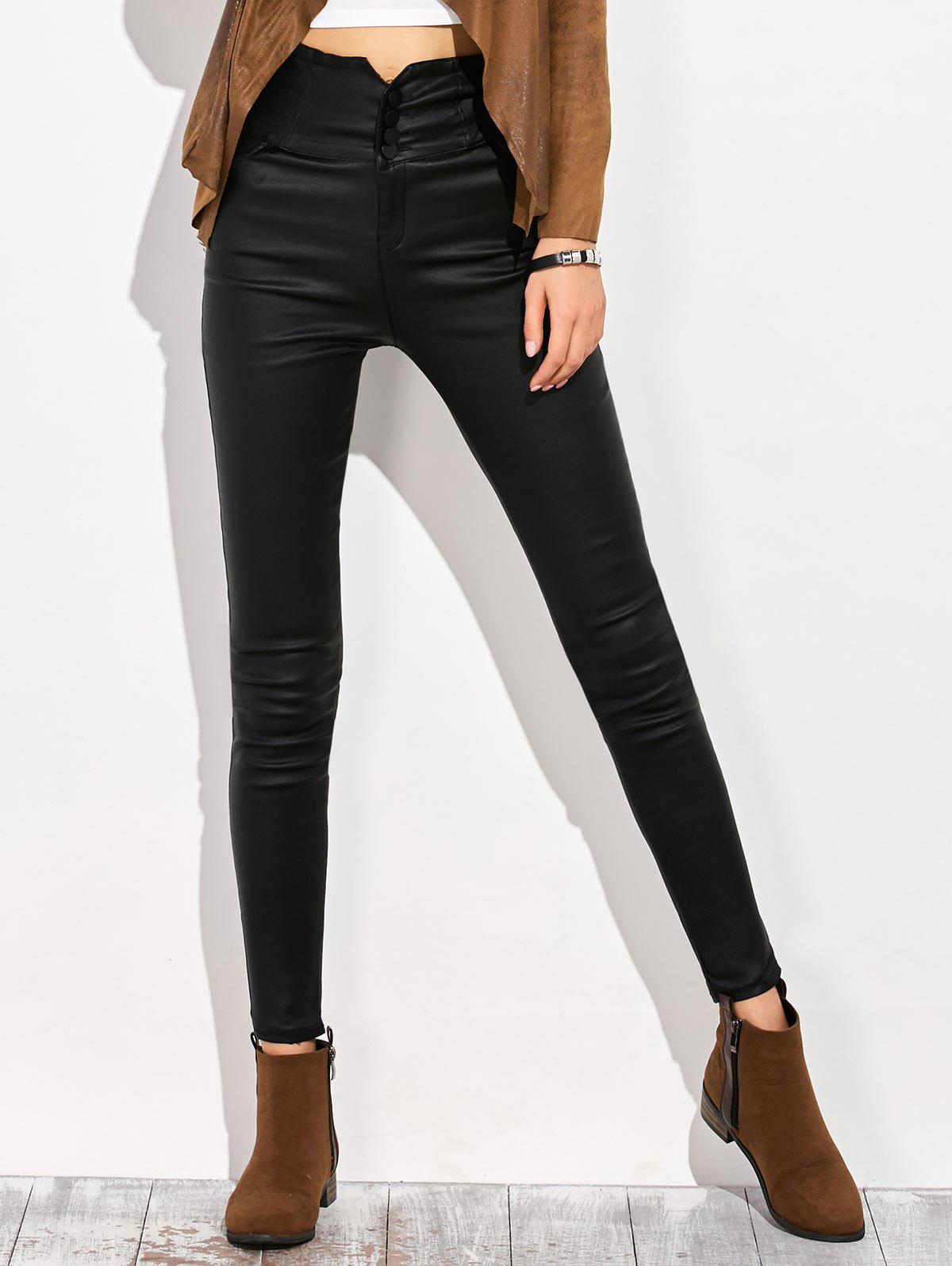 Criss Cross High Waist Skinny Pencil Pants - BLACK M